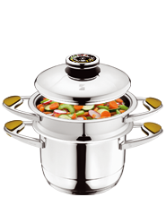 COOKING WITH THE STACKING SYSTEM, 2-3 MEALS, AT THE SAME TIME, 1 HOB, AT LOWER TEMPERATURES.